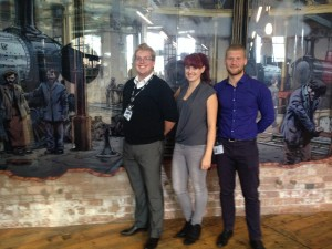 Ian Taylor, Chantel Scully and Paulius Jakuitis at Cromford Mills.